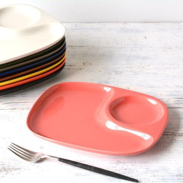 二つ仕切り ランチプレート 23cm 全9color  取り皿 おしゃれ お皿 皿 食器 プレート オシャレ 陶器 美濃焼き 可愛い 北欧 日本製|long-greenlabel|10