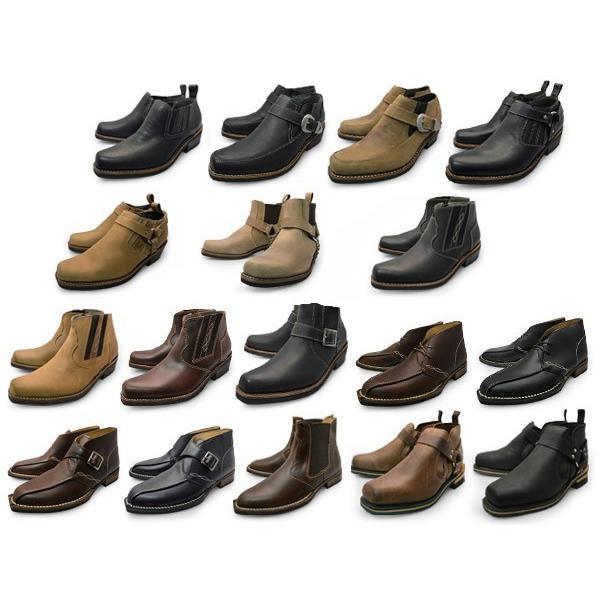 メンズ  本革 ブーツ サイドゴア、リング モンクストラップブーツ チャッカブーツ|longpshoe