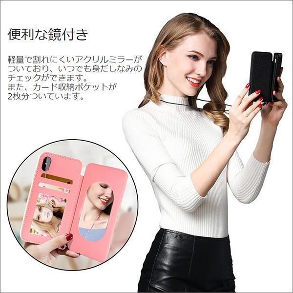 iPhone XR XS Max X 8 7 Plus 6 ネック ストラップ ミラー はめ込み カード 収納 ポケット 首かけ OL アイフォン 便利な鏡付き looco-shop 03