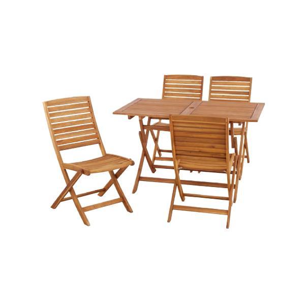 ウッドテーブルセット 4人用 ガーテン家具 ガーデンテーブル ガーデンチェア セット チェアセット 天然木 ナチュラル おしゃれ ニノ NX-802S