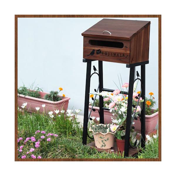 ★送料無料★ 郵便受け スタンドポスト 木製 おしゃれ 玄関収納 ラック 棚 47-73-8001 LOOKIT