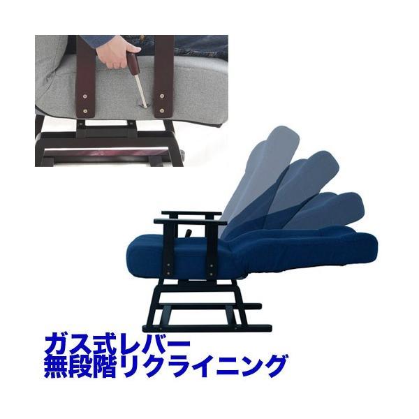 回転高座椅子 無段階 リクライニング ポケットコイル ガス式 レバー リラックスチェア 布 イス 椅子 1人掛け ソファー 送料無料 83-992-993|lookit|03