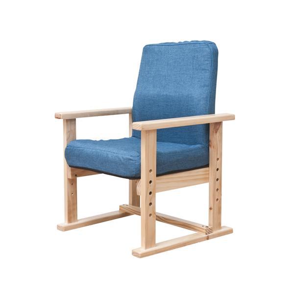 高座椅子 ハイタイプ 肘付きチェア ローチェア 背付きチェア 1人掛けチェア 布張りチェア チェア 椅子 木製肘 子供 高齢者 リビング 居間 F-1568|lookit