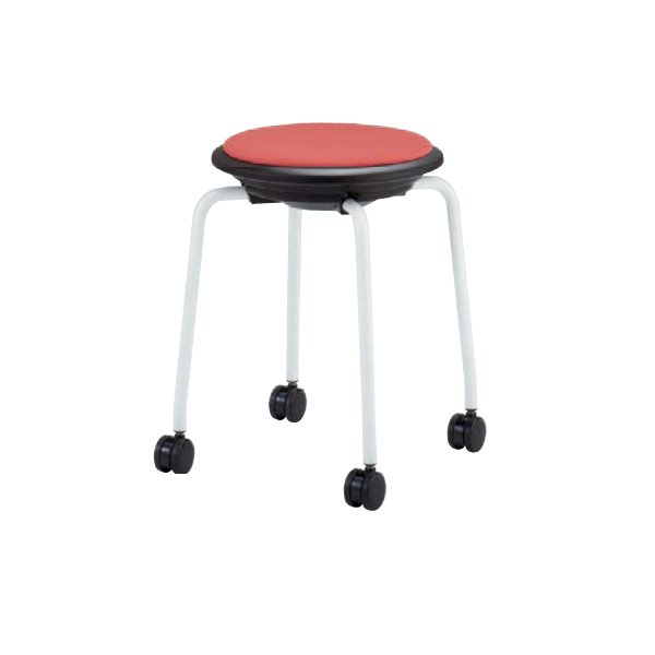 スツール キャスター付き 送料無料 布張り ホワイト脚 丸椅子 回転スツール オフィス家具 オフィスチェア 医療施設 93J1DF-F|lookit