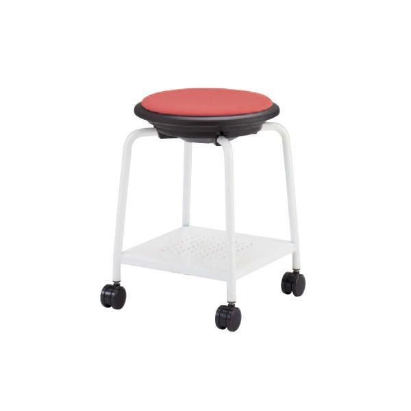 スツール キャスター付き 送料無料 ホワイト脚 布張りパッド付き 棚付き 丸椅子 背なしチェア オフィスチェア 肘なしチェア オフィス家具 93J1KF-F|lookit