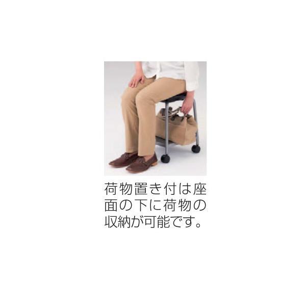 スツール キャスター付き 送料無料 ホワイト脚 布張りパッド付き 棚付き 丸椅子 背なしチェア オフィスチェア 肘なしチェア オフィス家具 93J1KF-F|lookit|03