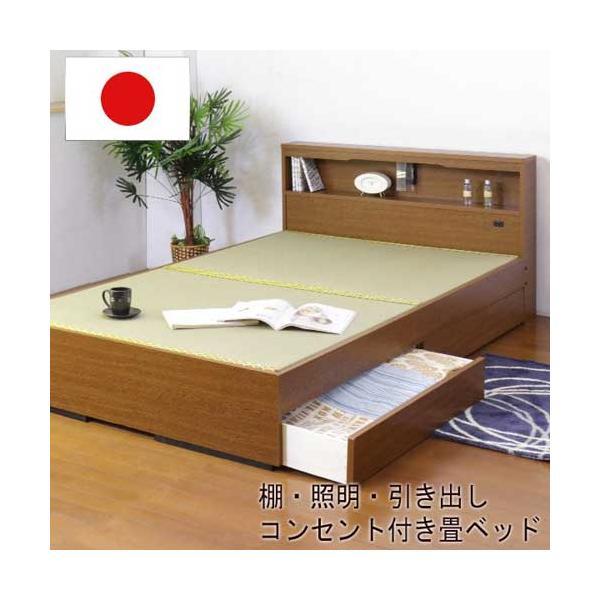 畳ベッド シングル 畳もフレームもオール日本製 防湿防虫加工 収納ベッド 収納付きベッド フロアベッド 畳 シングルベッド 和モダン おしゃれ 棚付き A331S|lookit