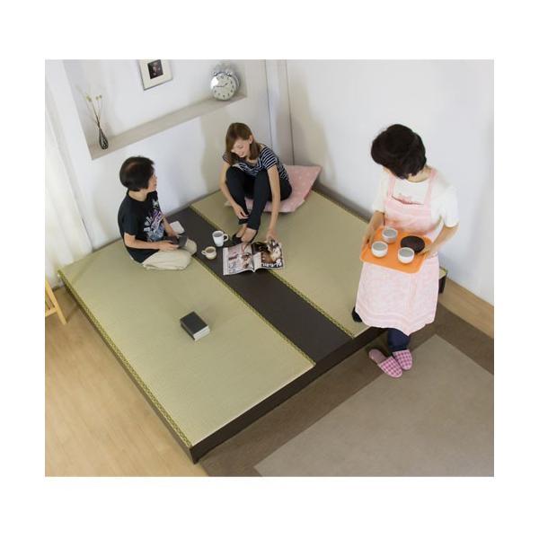 ステージ畳ベッド 畳もフレームもオール日本製! ユニット畳 フローリング畳 畳 2畳 置き畳 キングサイズ システム畳 ツインベッド ローベッド 収納付き 306|lookit