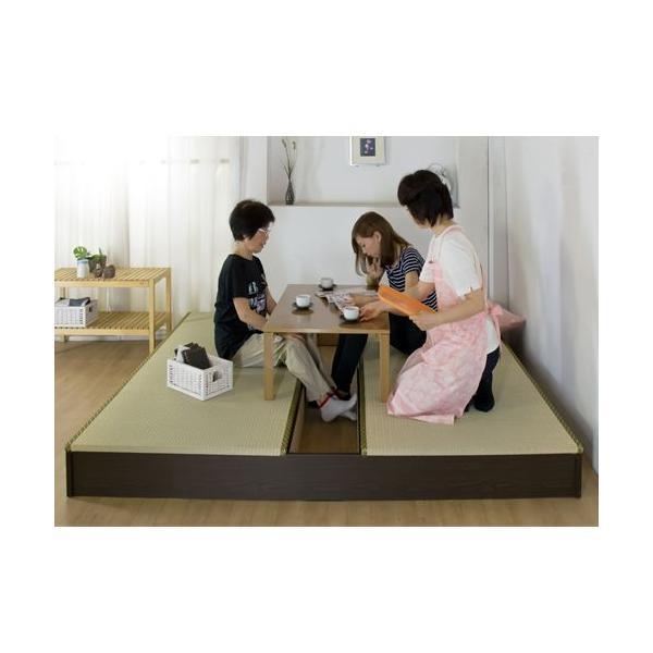 ステージ畳ベッド 畳もフレームもオール日本製! ユニット畳 フローリング畳 畳 2畳 置き畳 キングサイズ システム畳 ツインベッド ローベッド 収納付き 306|lookit|02