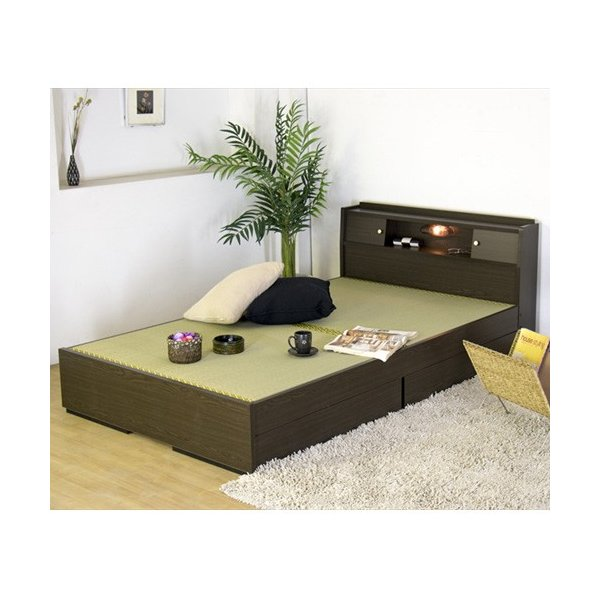 畳ベッド シングル 畳もフレームもオール日本製 防湿防虫加工 引き出し付き 照明付き 日本製 ベッド 国産 介護ベッド タタミベッド 収納付きベッド A151S|lookit|02