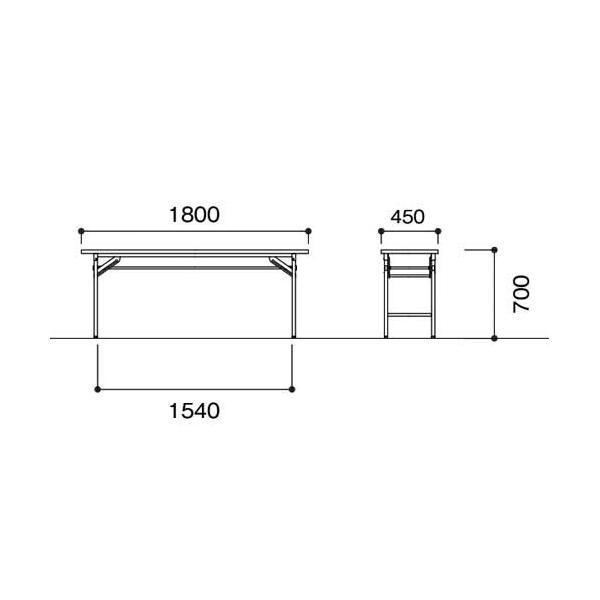 折りたたみテーブル 会議テーブル 180 45 180cm 高さ70 折りたたみ 角型 軽い 会議用テーブル 長机 学校 ソフトエッジ 折り畳み ミーティングテーブル KCT-1845|lookit|09