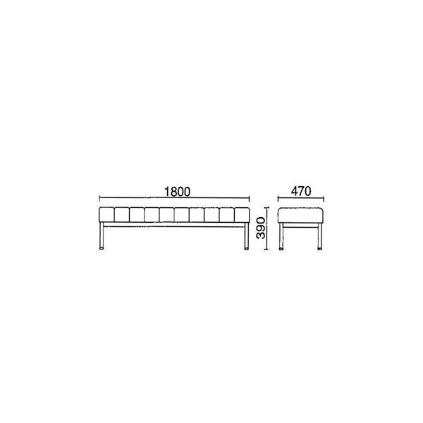 病院 待合室 いす 長椅子 背なし W1800mm 3〜4人掛け 抗菌 防汚 ベンチ ロビーチェア 待合椅子 整体院 クリニック 業務用 オフィス家具 DL-81|lookit|02