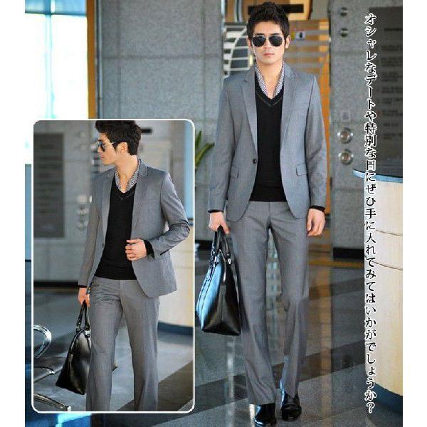 スーツ セットアップ メンズ 1ツボタンビジネススーツ スリムスーツ ウォッシャブルスラックス 人気|lookume|03