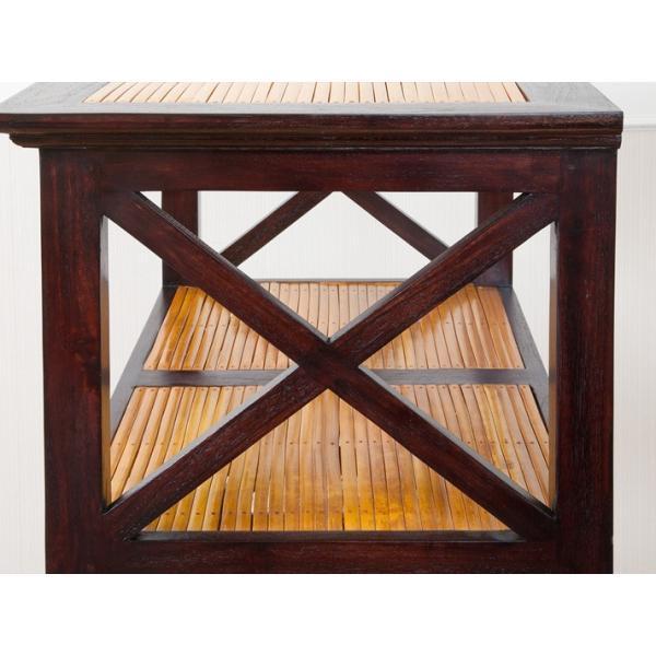 オープンシェルフ 4段 チーク無垢材 バンブー おしゃれ 高さ150 木製 アジアン家具 バリ リゾート 南国風 インテリア 本棚 収納棚 完成品|loopsky|04
