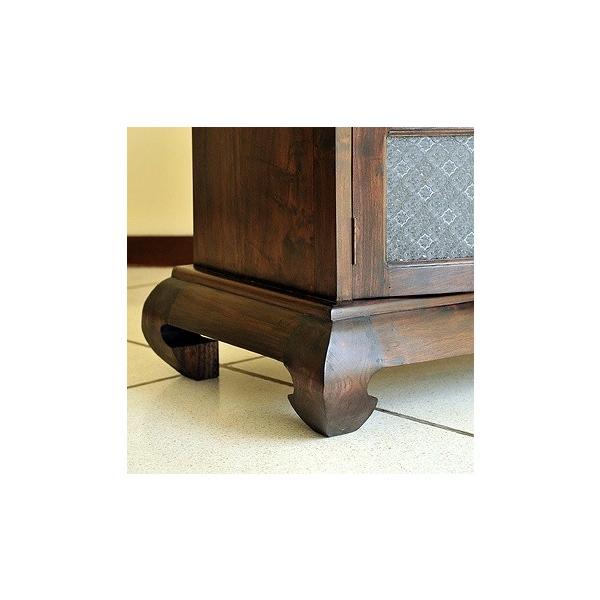 キャビネット アジアン家具 チーク無垢材 おしゃれ 幅146 猫脚 木製 ガラス バリ リゾート インテリア アンティーク調 サイドボード 食器棚 収納|loopsky|11