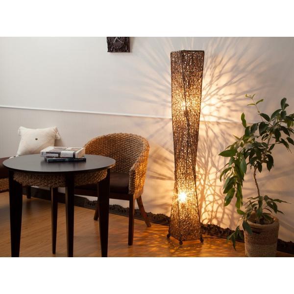 フロアライト アジアン ラタン おしゃれ 2灯式 LED電球対応 バリ リゾート インテリア モダン スタンドライト フロアランプ 照明器具|loopsky|02