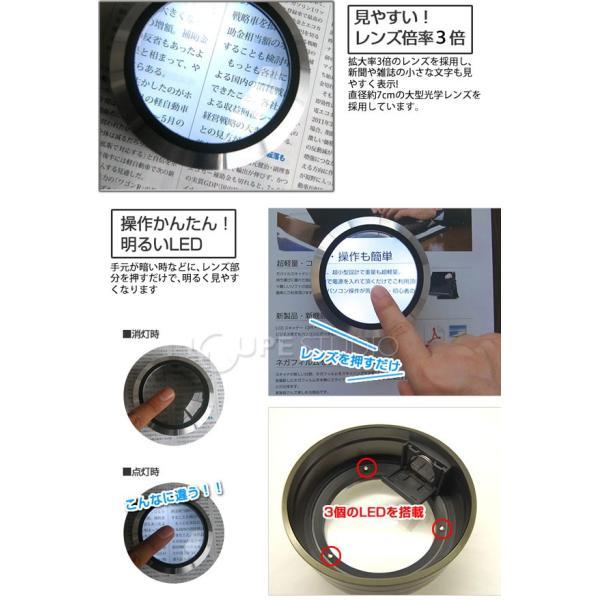 LED付ルーペ LED付き デスクルーペ 3倍 拡大鏡 スモリア SMOLIA 3R-SMOLIA-5 3R|loupe|03
