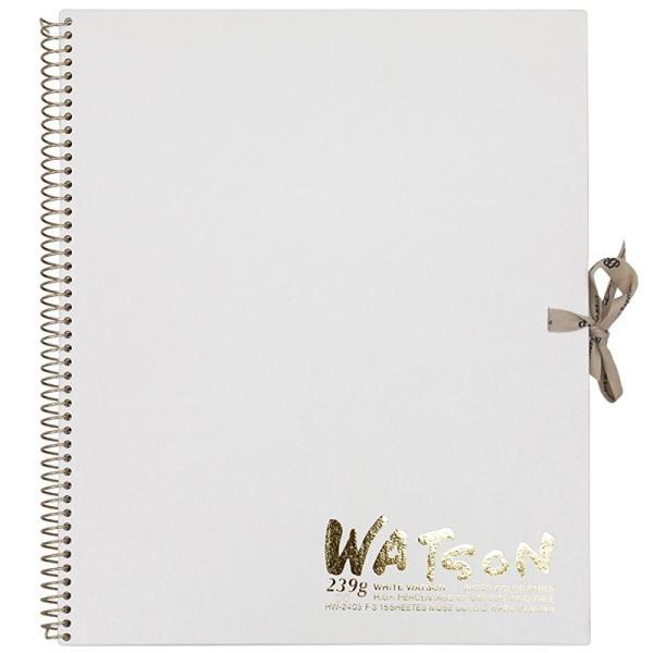 ミューズ 高級水彩紙 ホワイトワトソンブック 中性紙 HW-2403 F3 スケッチ ブック 画材 美術 写生 ノート デザイン イラスト 工作 図