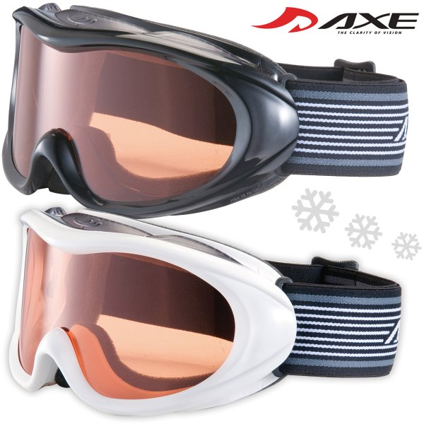 ゴーグル 眼鏡対応 AXE スキー スノーボード ゴーグル AX460-D 初心者用 曇り止め機能付き めがね対応 スノーゴーグル メガネ対応 アック|loupe