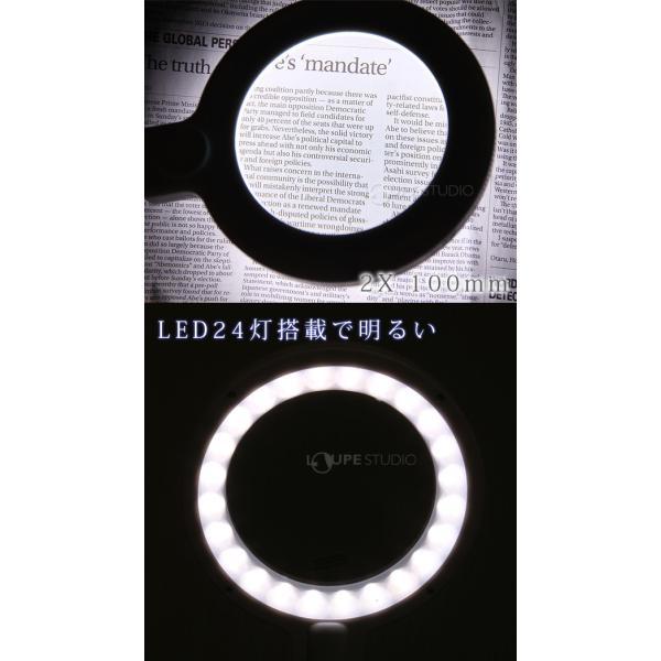 LEDライト付き スタンドルーペ 2倍 100mm デスクルーペ 訳あり 家庭用電源 USB 乾電池 3way 手芸 読書 模型 おしゃれ アウトレッ|loupe|03