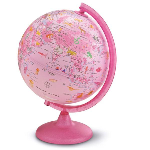 地球儀 子供 プレゼント 入学祝い 自由研究 小学生 子供用 学習 インテリア 地勢図 球径25cm ピンク ZOO 英語 イラスト付き オルビス