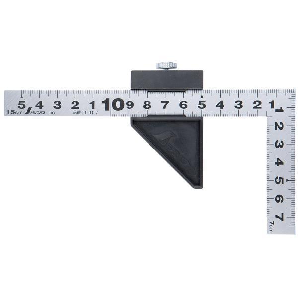 曲尺平ぴた シルバー 15cm 表裏同目 ストッパー付 12437 シンワ測定 工具 スケール ステンレス 定規 さしがね かねじゃく ケガキ作業 大