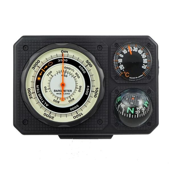 コンパス 方位磁石 高度計 気圧計 温度計 トラベルエイド 6 in 1 オイルコンパス 登山 釣り 方位磁針 ベルト 携帯