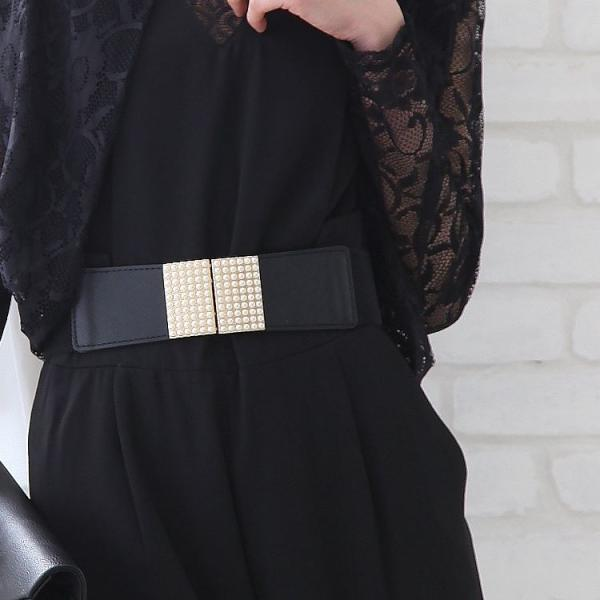 ゴムベルト 太 ベルトレディース フリーサイズ 白 黒 ウエストマーク レディースファッション パーティードレス通販クレア 2本セットで割引価格|lovegal|12