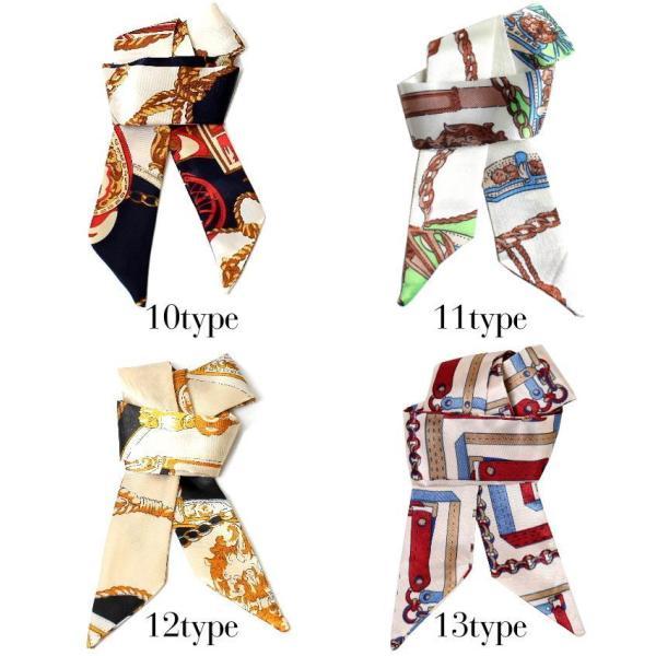 スカーフ レディース 18タイプ ツイリースカーフ サテン素材 チェーン柄 マルチ 細スカーフ 3枚以上で送料無料 ハンダナスカーフ ヘアクセサリー リボン lovegal 11