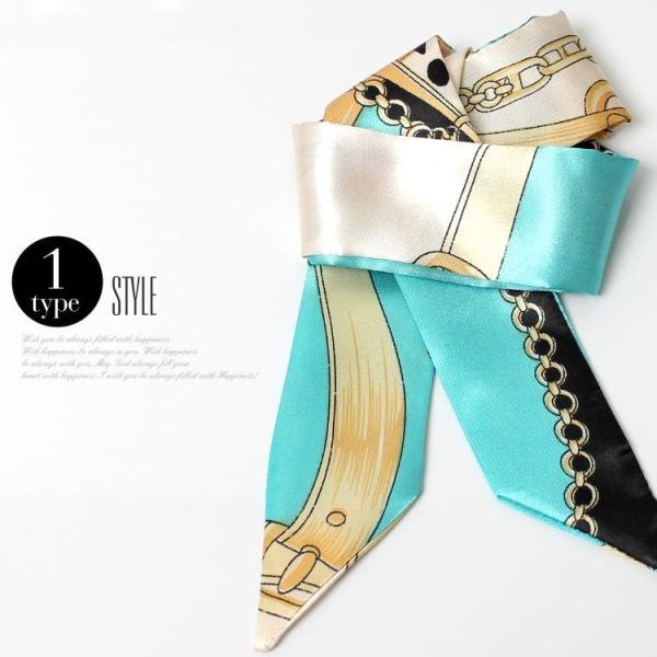 スカーフ レディース 18タイプ ツイリースカーフ サテン素材 チェーン柄 マルチ 細スカーフ 3枚以上で送料無料 ハンダナスカーフ ヘアクセサリー リボン lovegal 08