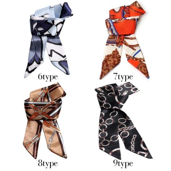 スカーフ レディース 18タイプ ツイリースカーフ サテン素材 チェーン柄 マルチ 細スカーフ 3枚以上で送料無料 ハンダナスカーフ ヘアクセサリー リボン lovegal 10