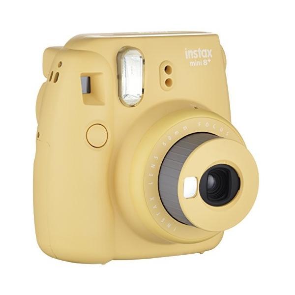 FUJIFILM インスタントカメラ チェキ instax mini8プラス 接写レンズ・純正ハンドストラップ付き ハニー INS