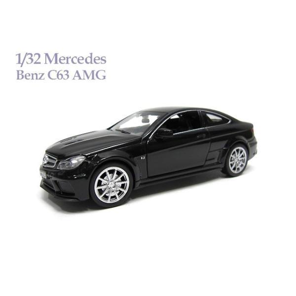 1/32 メルセデス ベンツ C63 AMG 黒 光る鳴る ミニカー|lovelybeetlegarage