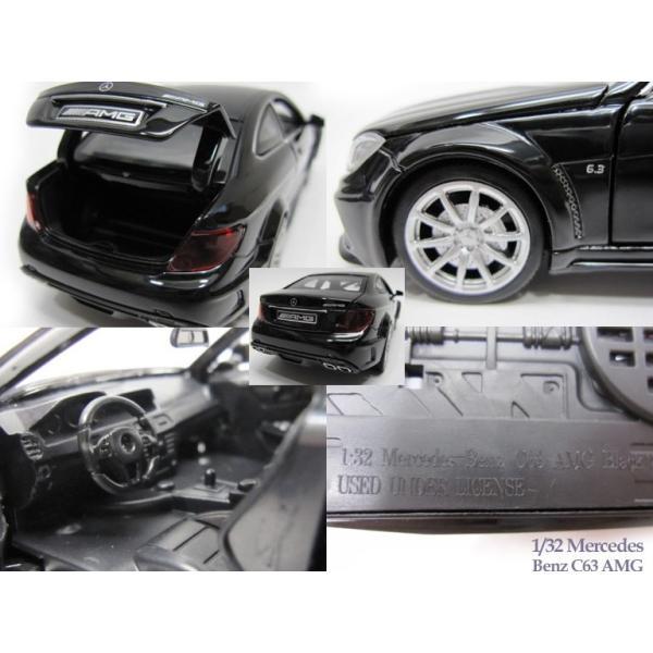 1/32 メルセデス ベンツ C63 AMG 黒 光る鳴る ミニカー|lovelybeetlegarage|03