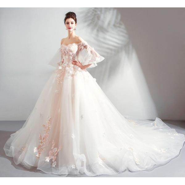 5e2c9442afb7e 花嫁ドレス ウエディングドレス 披露宴二次会 気質チューブトップ Aライン ロングトレーン ウエディングドレス 白 ...