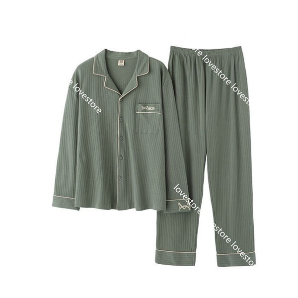 パジャマルームウェアメンズ秋冬長袖長ズボン上下セットコットン綿100前開き衿付きシンプルおしゃれ部屋着寝巻き