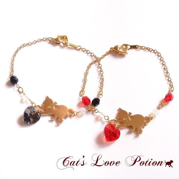 猫 スワロフスキー ハート チェコ  ブレスレット ねこのハート。Cat's Love Potion メール便送料無料|lovexclp