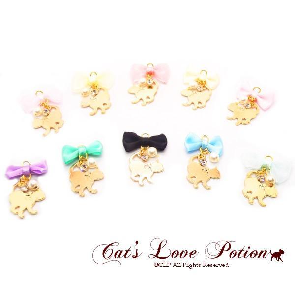 猫 樹脂 ノンホールピアス リボン パール プリンセスキャット Cat's Love Potion イヤリング  メール便送料無料|lovexclp