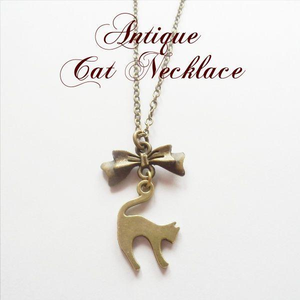 猫 ネックレス アンティーク猫ネックレス/リボンキャット Cat's Love Potion メール便送料無料 lovexclp