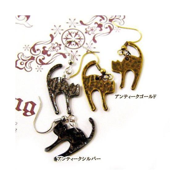 猫 ピアス アンティークカラー猫ピアス/アンティークゴールド【メール便○】|lovexclp|02