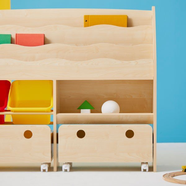 おもちゃ箱 絵本棚 収納 木製 ディスプレイ キッズ おしゃれ ラック ボックス トイ 子供 こども 本棚 シェルフ おもちゃ ワイド ロウヤ LOWYA|low-ya|02