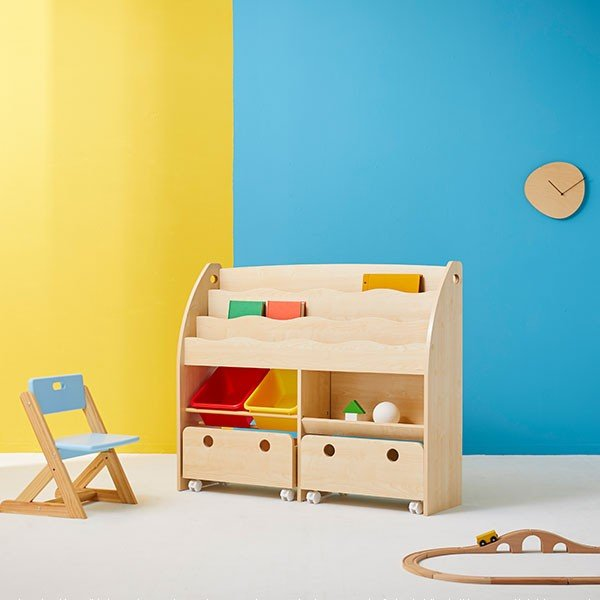 おもちゃ箱 絵本棚 収納 木製 ディスプレイ キッズ おしゃれ ラック ボックス トイ 子供 こども 本棚 シェルフ おもちゃ ワイド ロウヤ LOWYA low-ya 16