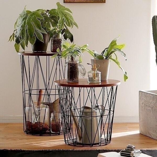 バスケットテーブル おしゃれ 収納 テーブル サイド かご バスケット ワイヤー シンプル 天然木 ロウヤ LOWYA