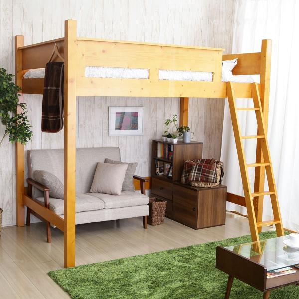 ロフトベッド セミダブル 耐荷重120kg ベッド 木製 おしゃれ すのこ 低ホルムアルデヒド 天然木|low-ya
