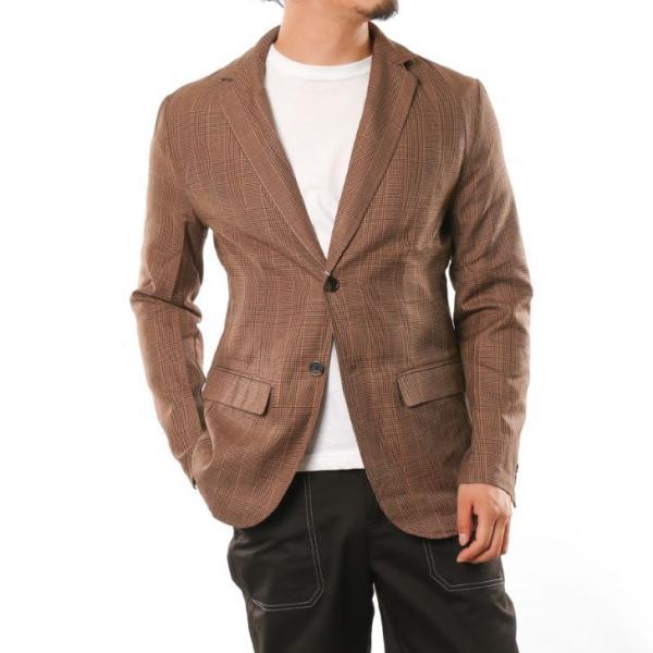 テーラードジャケット メンズ チェック柄 細身 スリム グレンチェック タータンチェック ベージュ ブラウン 秋 冬 カジュアル 韓国系ファッション K-POP|lowcos|12