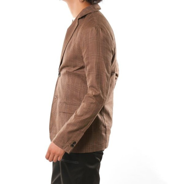 テーラードジャケット メンズ チェック柄 細身 スリム グレンチェック タータンチェック ベージュ ブラウン 秋 冬 カジュアル 韓国系ファッション K-POP|lowcos|13