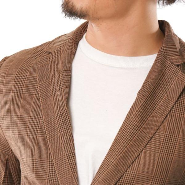 テーラードジャケット メンズ チェック柄 細身 スリム グレンチェック タータンチェック ベージュ ブラウン 秋 冬 カジュアル 韓国系ファッション K-POP|lowcos|15