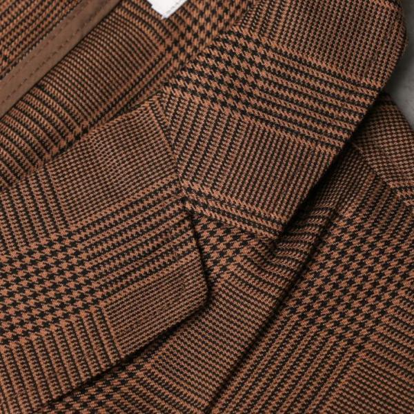 テーラードジャケット メンズ チェック柄 細身 スリム グレンチェック タータンチェック ベージュ ブラウン 秋 冬 カジュアル 韓国系ファッション K-POP|lowcos|05
