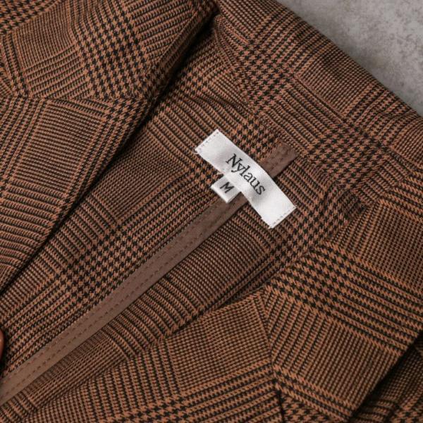 テーラードジャケット メンズ チェック柄 細身 スリム グレンチェック タータンチェック ベージュ ブラウン 秋 冬 カジュアル 韓国系ファッション K-POP|lowcos|06