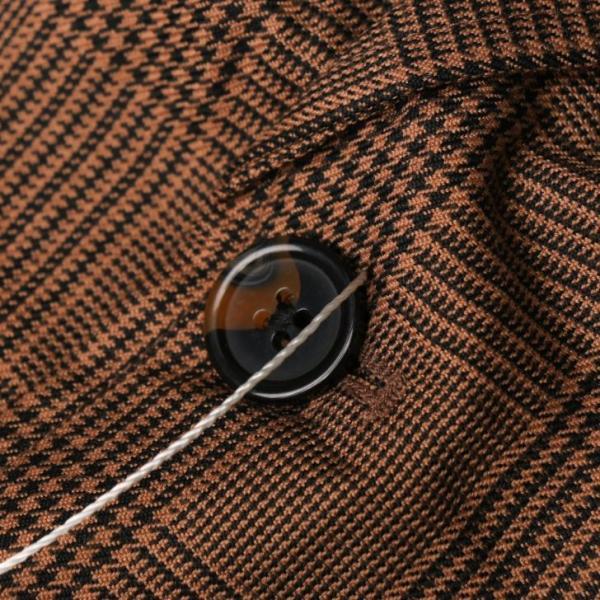テーラードジャケット メンズ チェック柄 細身 スリム グレンチェック タータンチェック ベージュ ブラウン 秋 冬 カジュアル 韓国系ファッション K-POP|lowcos|07